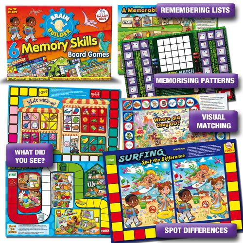6 Memory Skills Board Games. For all ages. - SKBB11