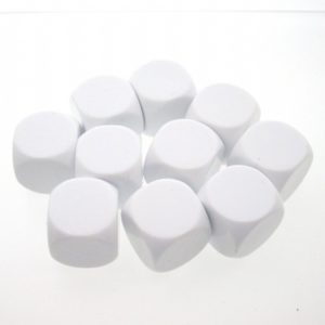 Blank Dice. (18mm)                          Pack of 10